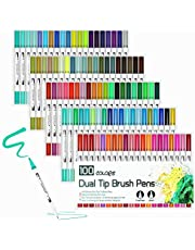 100 Colour Brush Pens with Fineliner Tip, Dual Tip Marker Pens Water Based Ink for DIY Coloring Book, Sketching, Painting, Drawing, Manga Fashion Design (White)