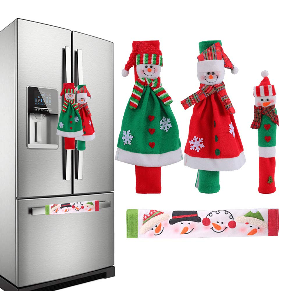 Christmas Snowman Home Kitchen Decor Appliances Accessories Door Handle Covers Set for Home Refrigerator Oven Microwave Dishwasher Cover Decorations Set Of 4 Santa Handle Decorations Protector