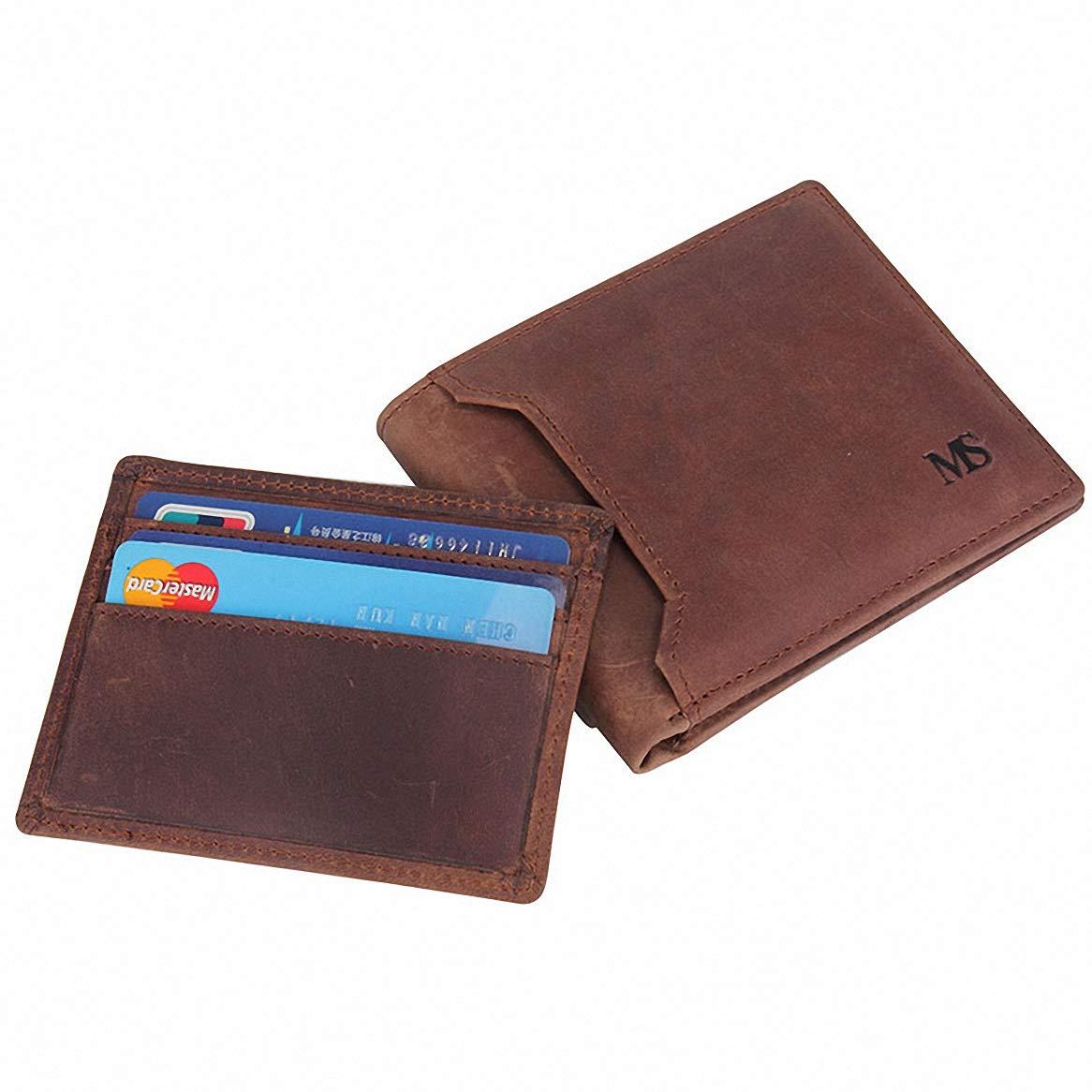 Mens Wallet Brown Receipt Cash Bifold Money Clip