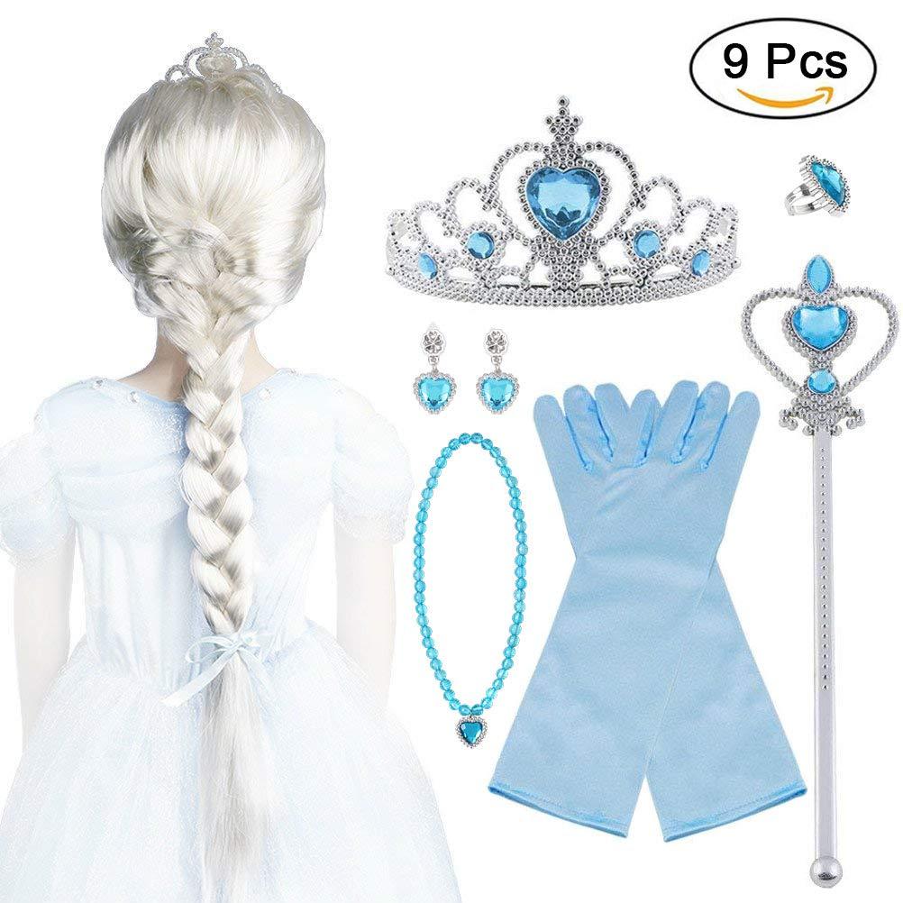 Vicloon 9pcs Upgrade Princesse Dress Up Accessoires pour Déguisement/Costume d'Elsa la Reine des Neiges Perruque/Diadème/Gants/Baguette Magique/Bague/Boucles d'oreilles/Collier, 2-10 Ans Fillie Xin shoutao-V-C0039-FBM