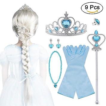 Vicloon 9Pcs Upgrade Princesa Vestir Accesorios - Peluca/Corona/Sceptre/Anillo /Pendientes/Collar/Guantes (B): Amazon.es: Juguetes y juegos