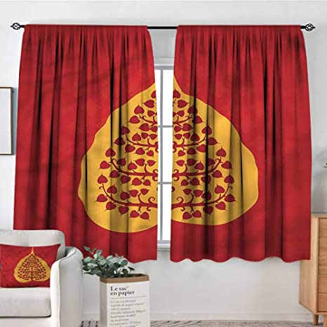 Amazon.com: Leaf,Curtains Artistic Bodhi Tree Yoga 72