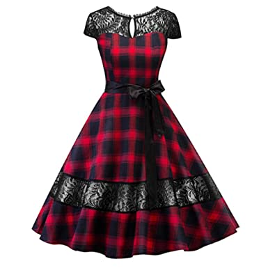 Plaid Lace Dress with Sash Pin Up Rockabilly Swing Flare Dress Robe Vestidos Red S