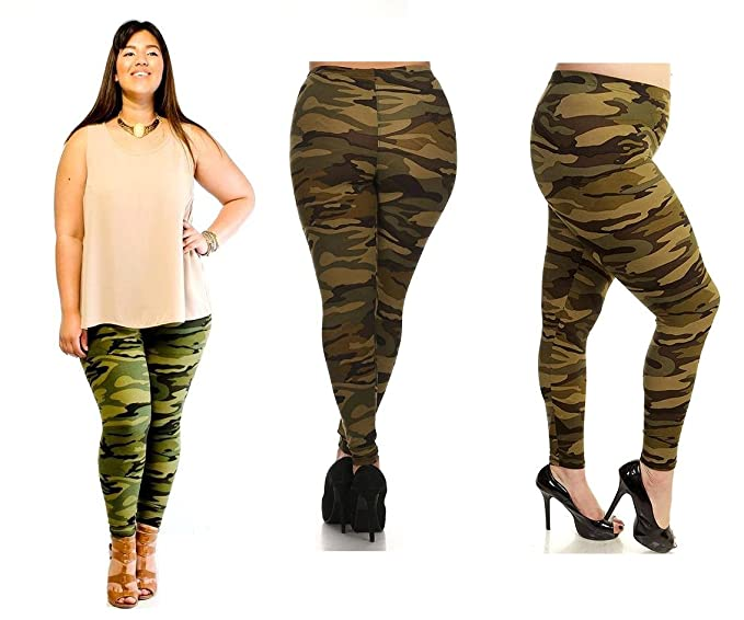 15e5fed08e961 Image Unavailable. Image not available for. Color: DAVIDO Womens ORIGINAL Plus  size ARMY green Camo Camouflage SOFT Leggings 1X-3X