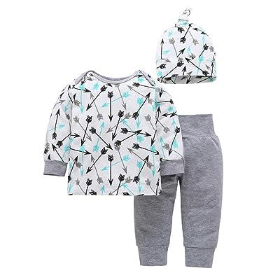3-18 mois Bebe Mixte Ensemble de Pyjama Manches longues manches et Bonnet Bébé Body Oufits