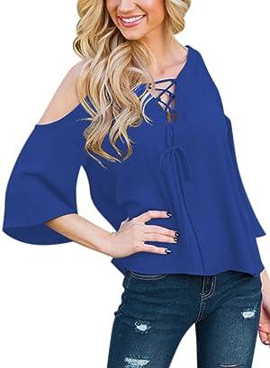 ZXZY Women Chiffon Bandage V Neck Cold Shoulder Asymmetric Shirt Top Blouse