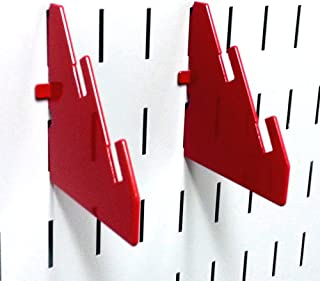 product image for Wall Control Pegboard Slotted Metal Pegboard Bracket Pair Accessory Pack for Wall Control Pegboard and Slotted Tool Board – Red