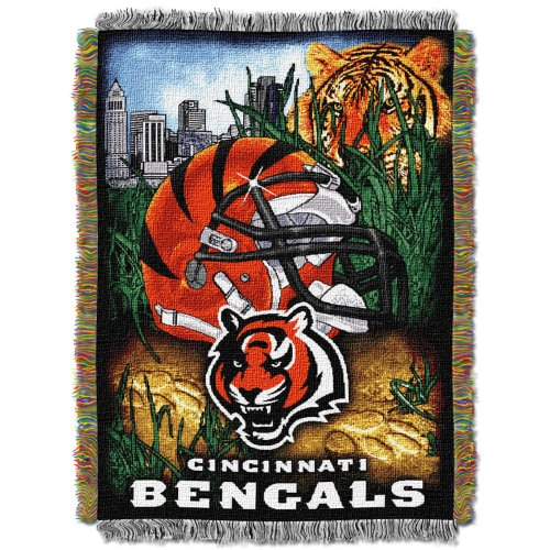The Northwest Company Officially Licensed NFL Cincinnati Bengals Home Field Advantage Woven Tapestry Throw Blanket, 48