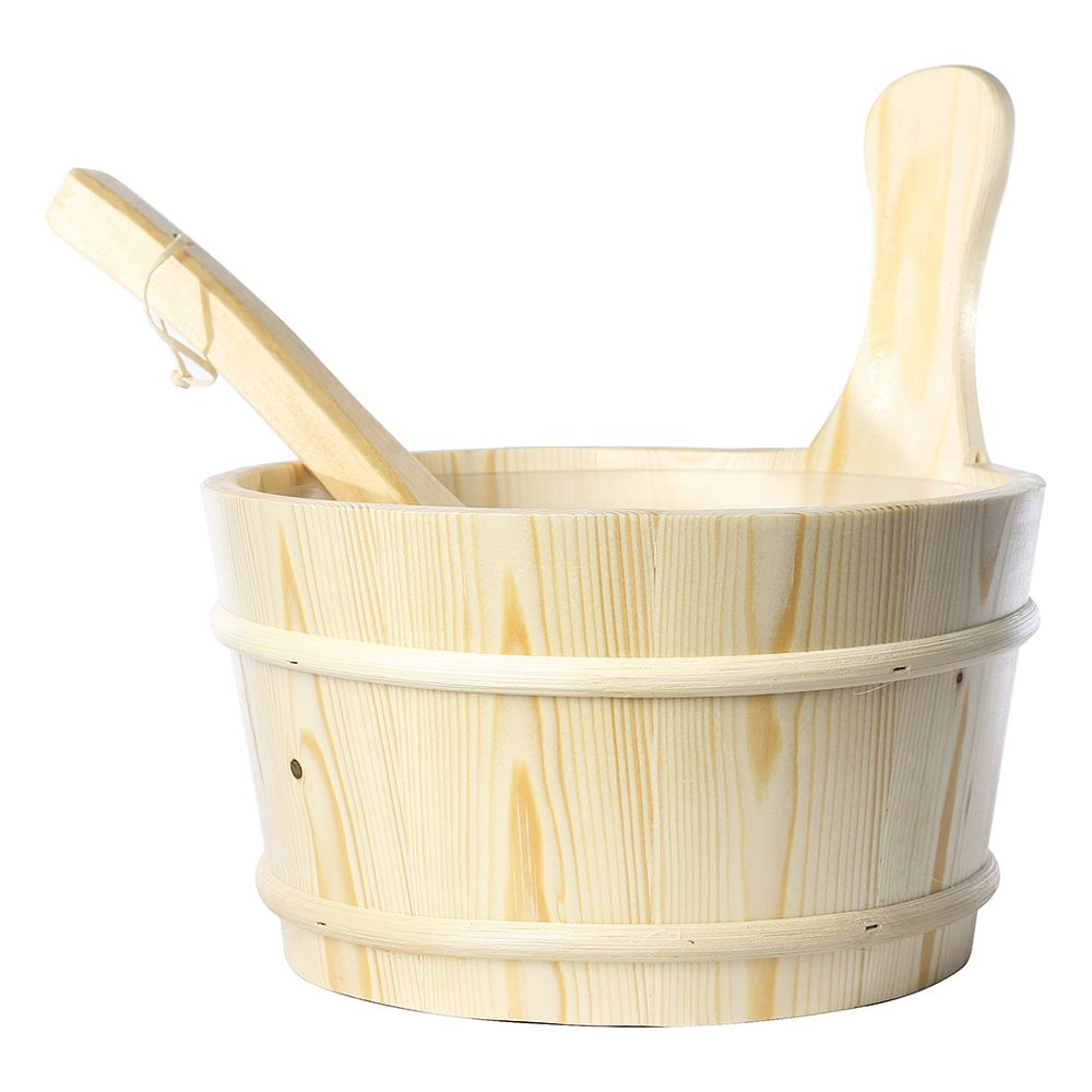 RGX 4L Sauna Accessory Pine Wooden Bucket Pail Ladle with Linner Combined Set Handmade Sauna and SPA Accessory China RGX Co. Ltd