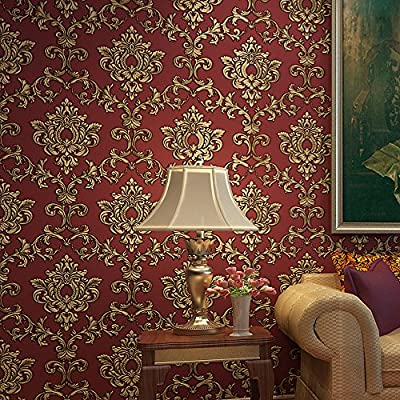 Blooming Wall Red Damasks Flocking Embossed Textured Wallpaper Roll For Livingroom Bedroom, 20.8 In32.8 Ft=57 Sq ft Per Roll, Gold/Red
