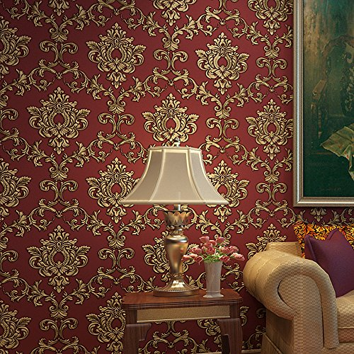 Blooming Wall Red Damasks Flocking Embossed Textured Wallpaper Roll For Livingroom Bedroom, 20.8 In32.8 Ft=57 Sq ft Per Roll, Gold/Red (Wallpaper(57 Square Ft./Roll))