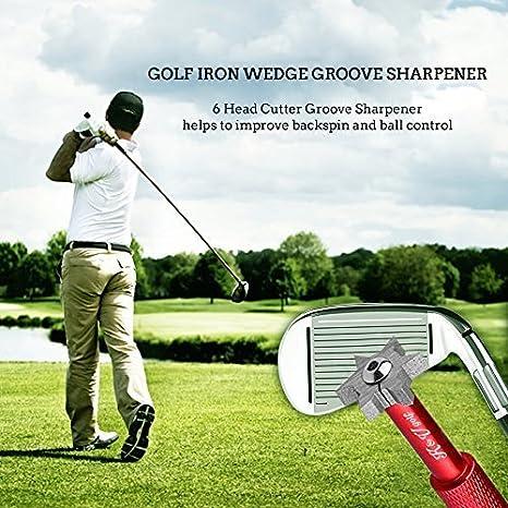 Kit Afilador Palos de Golf Afila Estrías Wedge Hierro Accesorio Cortador con 6 Puntas (U,V) por K&V Golf Herramienta Afilador Groove Multi-ángulo ...