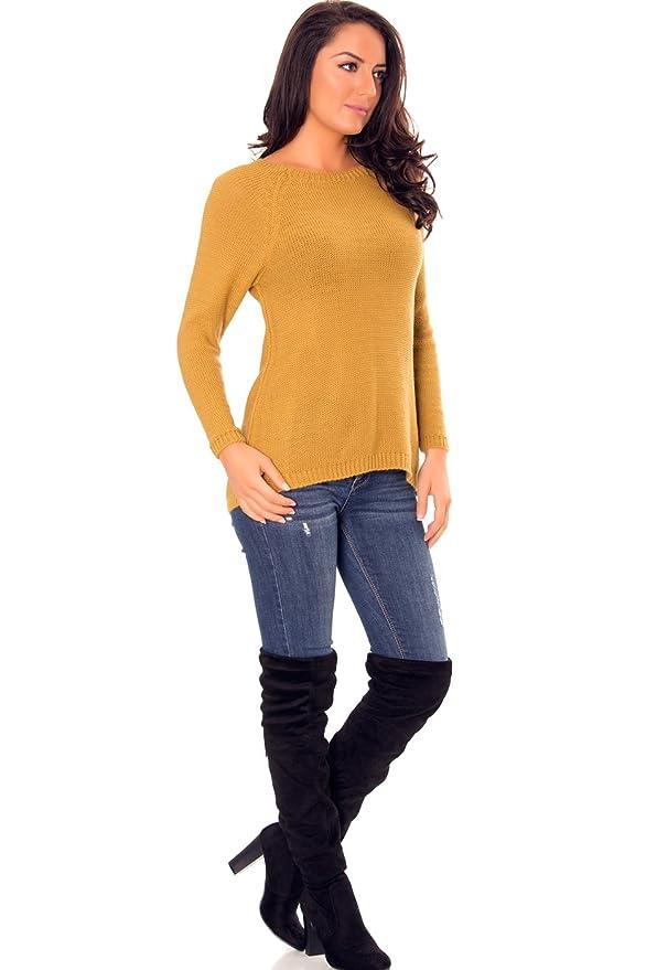 FASHION BOUTIK pull maille jaune moutarde noeuds dos femme sexy 36 38 40 (TU  36-40)  Amazon.fr  Vêtements et accessoires fbdda101a828