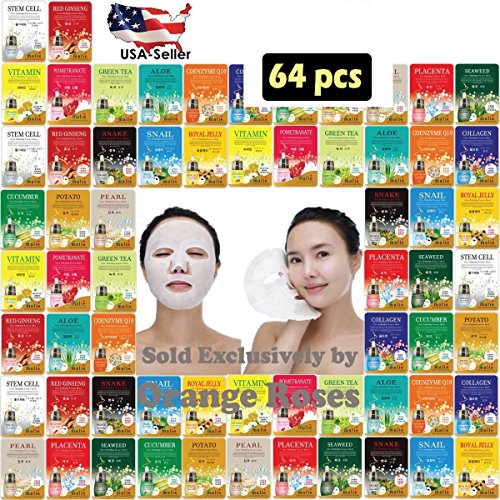 [OBS lab] 64 pcs Ultra Hydrating Essence Mask, Korean Facial Mask Sheet ( 4 x 16 Types), Moisturizing Skincare