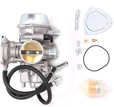 KIPA Carburetor For Yamaha RHINO 660 YFM660 YXR660FA YXR660FSE YXR660FH YXR660 Hunter UTV ATV 2004 2005 2006 2007 Replace OEM part number 5KM-14901-00-00 2Pcs New Main jets /& 2Pcs Fuel Filters