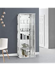 Displaysense White Lockable Glass Display Cabinet with Lighting