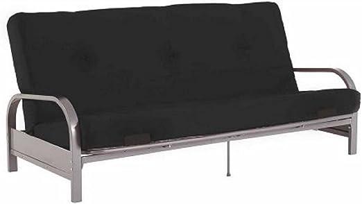 Modern Convertible Futon Sofa Bed Silver Metal Arm Futon Frame with Full  Size Mattress (77\