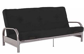 Amazon Com Modern Convertible Futon Sofa Bed Silver Metal Arm Futon