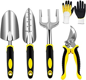 5 Pcs Gardening Tools Set with Heavy Duty Cast-Aluminium Heads and Non-Slip Rubber Grip, Including Transplanting Spade, Trowel, Cultivator, Pruner and Gardening Gloves, Great Gift for Woman