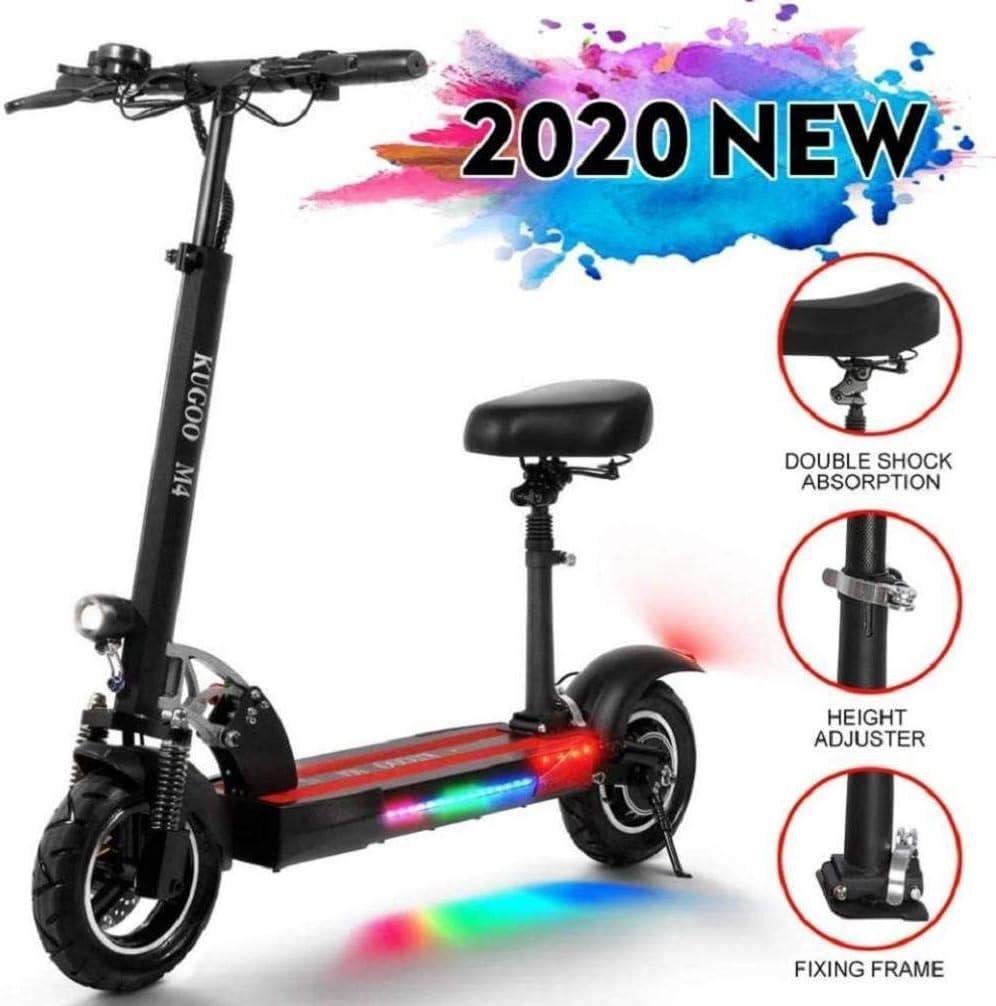 Scooter eléctrico adultos con asiento desmontable, 10Ah de Largo Alcance de la batería, motor de 500 W hasta 43 kmh, plegable y portátil E-Scooter con la función antirrobo for campo a través, los desp