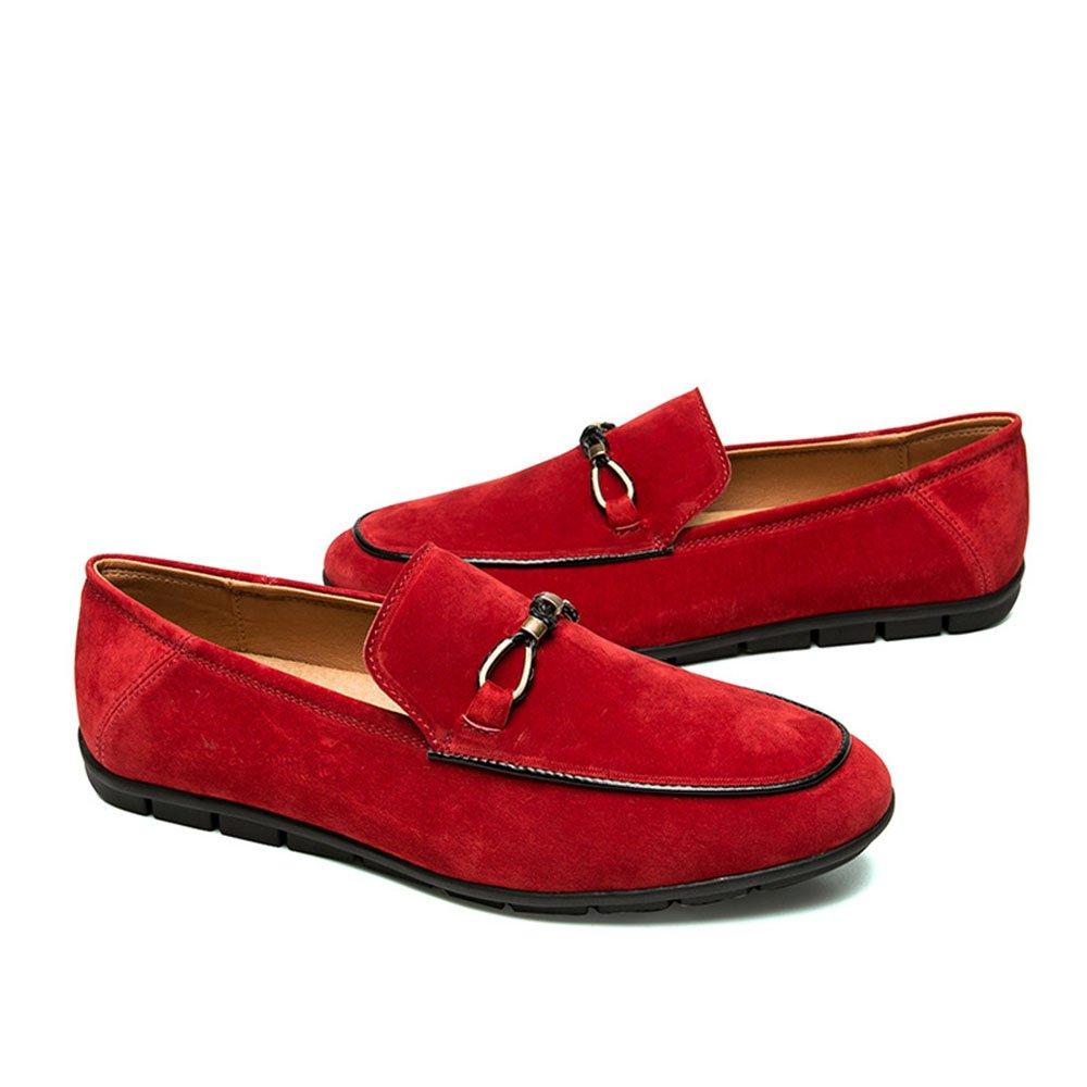 Zapatos Casuales de Verano para Hombres Zapatos de Cuero Respirables cómodos y Suaves 41 1/3 EU|Rojo