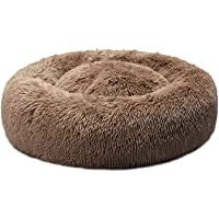 PaWz Pet Bed Cat Dog Donut Nest Calming Mat Kennel Cave Deep Sleeping Brown S S-50cm in Brown