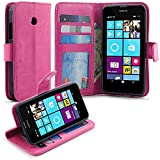 Lumia 630 / 635 Case, LK Lumia 630 / 635 Wallet Case, Luxury PU Leather Case Flip Cover Card Slots Stand For Microsoft Lumia 630 / 635, HOT PINK