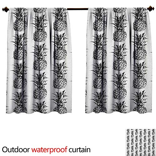 BlountDecor PineappleAnti-waterArtistic Hand Drawn Tropical Theme Vintage Style Pineapple Fruit Pattern W96 x L72(245cm x 183cm) Sun Block Outdoor Curtain Black Gray White