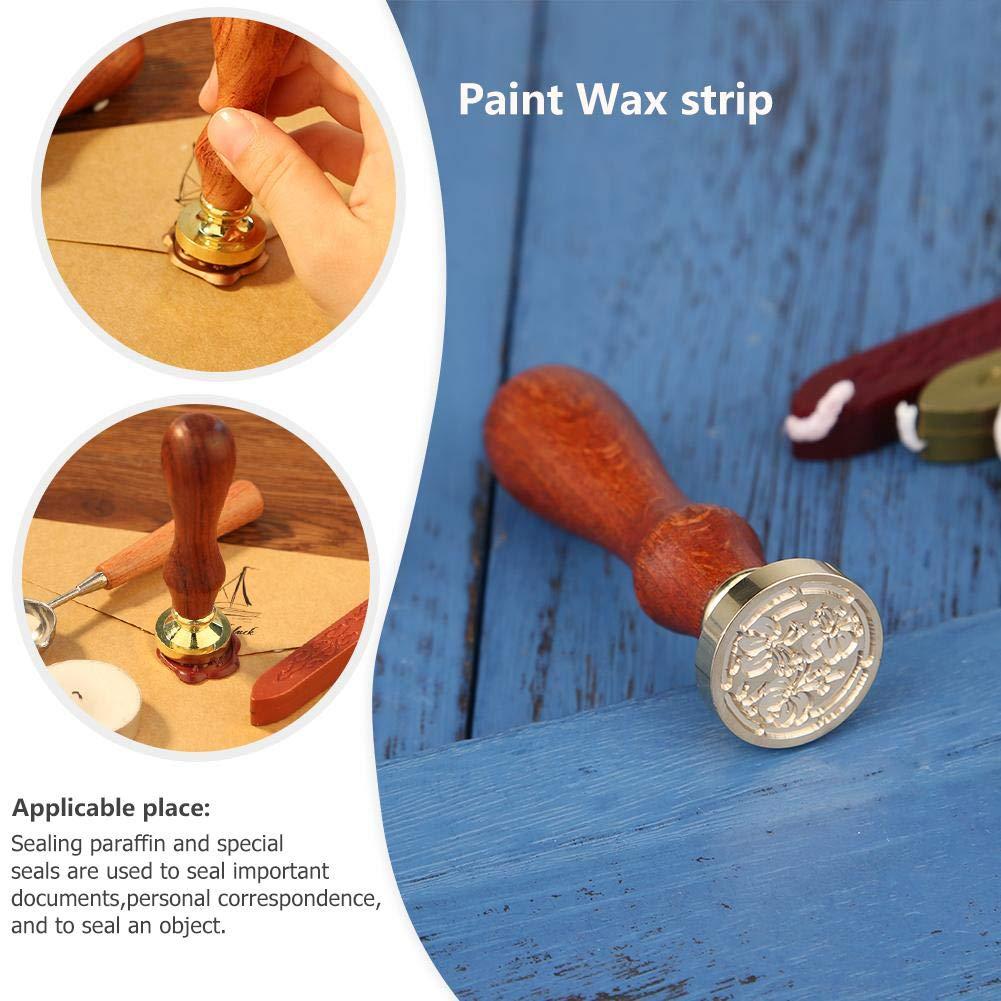 03 Demiawaking Vintage Timbro Sigillo di Cera Modello Foglia e Fiore Personalizzata con Manico in Legno DIY Decorazioni per Biglietto dinvito Buste