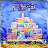 Matzah Cover Satin Blue Passover Seder Matza Cover Square