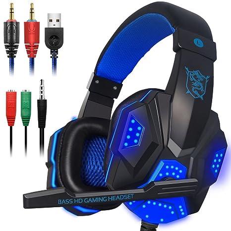 Auriculares de juego con micrófono y luz LED para ordenador portátil, PS4 y Xbox One