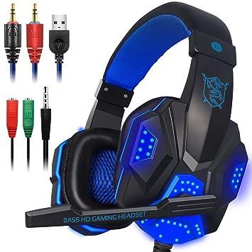 Auriculares de juego con micrófono y luz LED para ordenador portátil, PS4 y Xbox One, auriculares DLAND de 3,5 mm con aislamiento acústico de ruido de ...