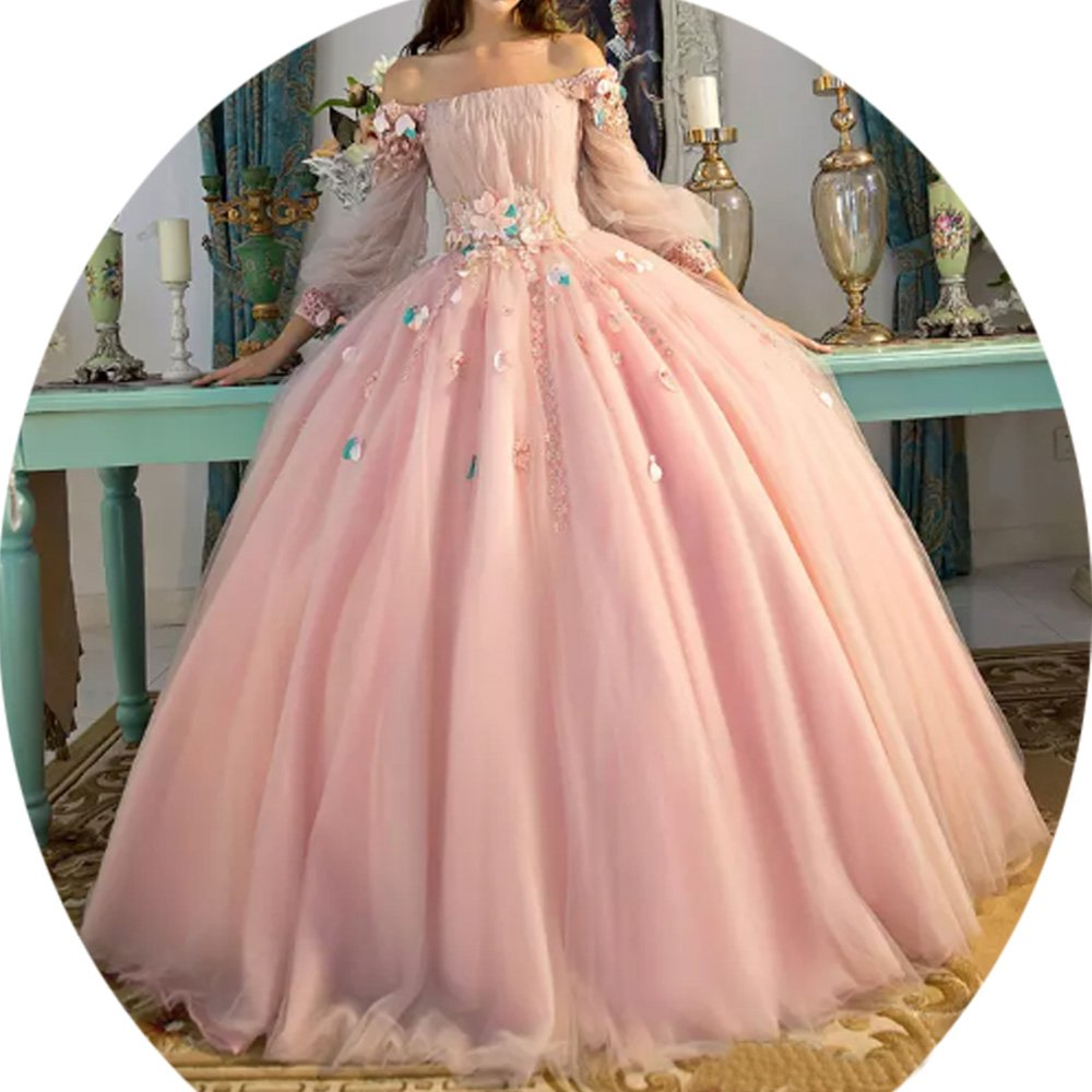 bacd13df27 Vivi Women s Off Shoulder Long Sleeves Quinceanera Dresses Long Ball Gown  Formal Party Dress.   
