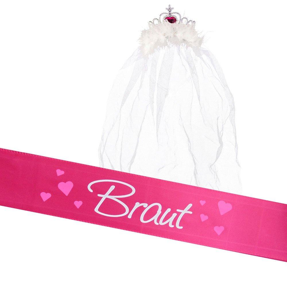 Partybob JGA Braut Kostüm-Set - Schärpe + Krone mit Schleier (Pink) BOB-A-0208-pink