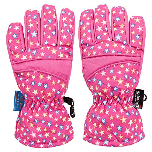 AbbyLexi Kids Kids Thinsulate Lined Waterproof Skeleton Winter Ski Snow Gloves M -