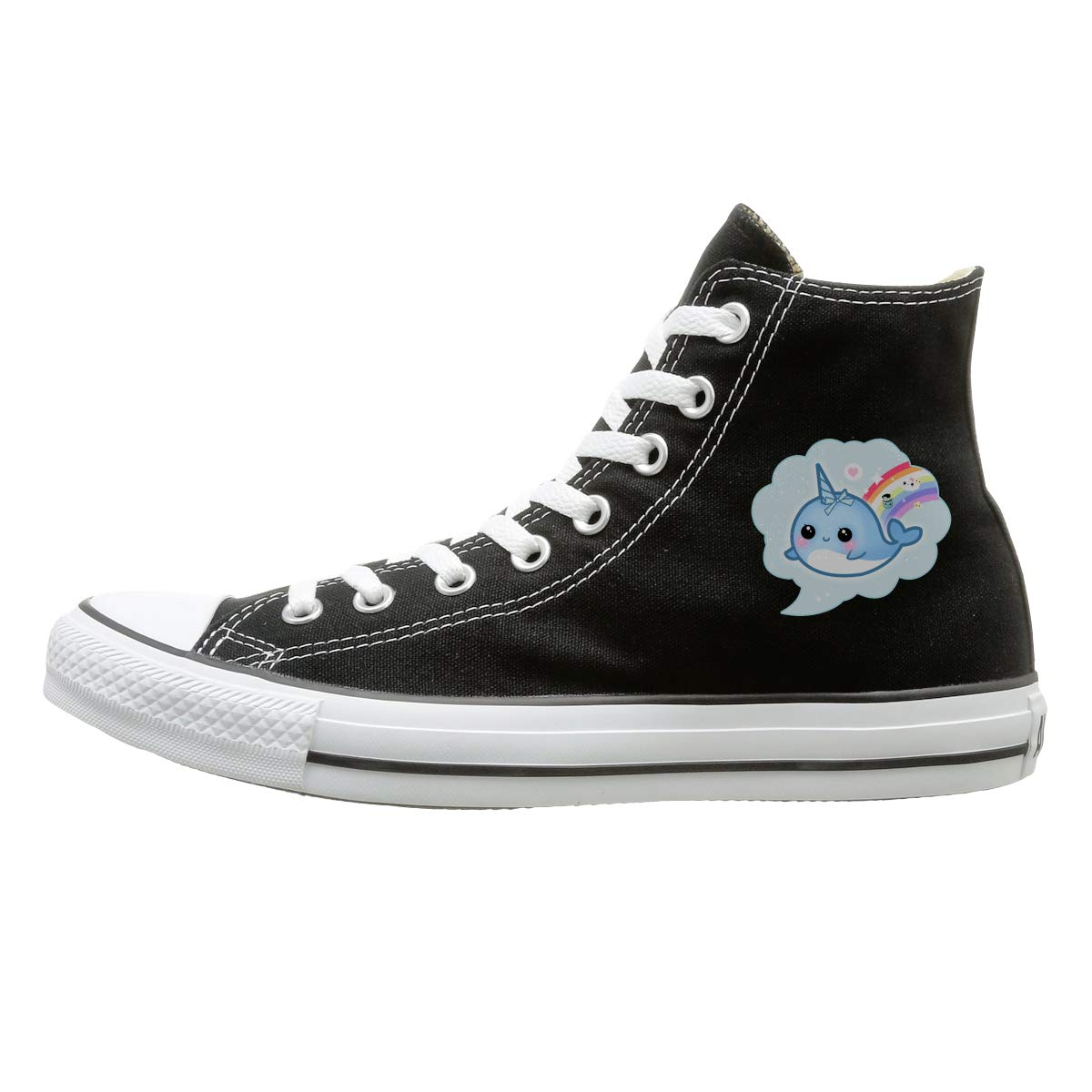FOOOKL Cute Kawaii Narwhal Canvas Shoes High Top Sport Black Sneakers Unisex Style
