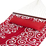 Best Choice Products Quilted Double Hammock w/Detachable Pillow, Spreader Bar – Red/White