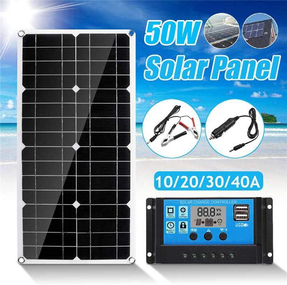 Panel Solar Portatil Cargador Solar 50W con 2 USB de Salida Puertos 5V / 18V para Teléfonos, MP3, Tabletas U Otros Cargadores USB (540 280 2.5mm): Amazon.es: Electrónica