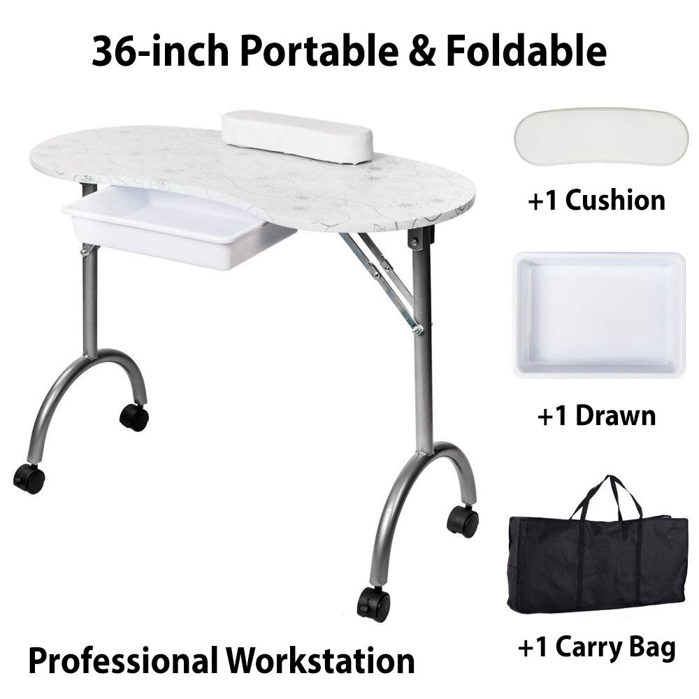 36'' Portable & Foldable Nail Manicure Table | Nail Technician Desk Workstation Manicure Table with Carrying Case and User Manual by Galax Supply