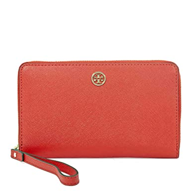 b4c6152bc273 Amazon.com  Tory Burch Robinson Leather Smartphone Wristlet - Poppy  Orange Cardamom  Shoes