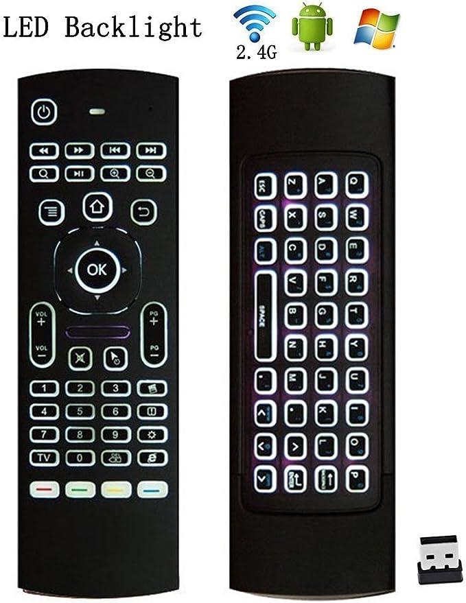 MX3 Retroiluminado Mini Ratón Inalámbrico Ratón Aéreo 3D Fly Controller Incorporado en Gyro Sensors Viene con un Receptor Nano USB Perfecto para Kodi Box Android, HTPC, Smart TV, Apple TV, Laptops etc: