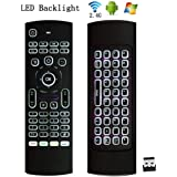 Backlit Mini Wireless Keyboard Air Mouse, Junefish 3D Fly Controller Built In Gyro Sensors Comes With Nano USB Receiver For Android Kodi Boxes, HTPCs, Smart TVs, Apple TV, Rasberry Pi, Laptops etc
