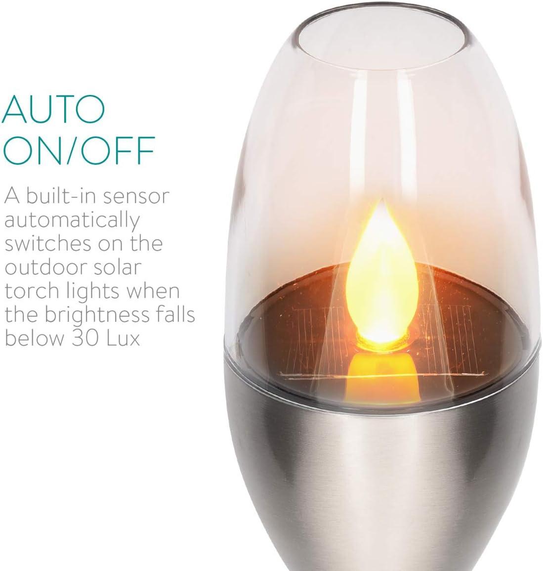 Navaris 4x LED Solar Edelstahl Gartenfackel - 8,5 x 112cm - Garten Fackel Solarleuchten Set - Außen Kerzenschein-Effekt Solarfackel Metallic Silber Metallic Silber