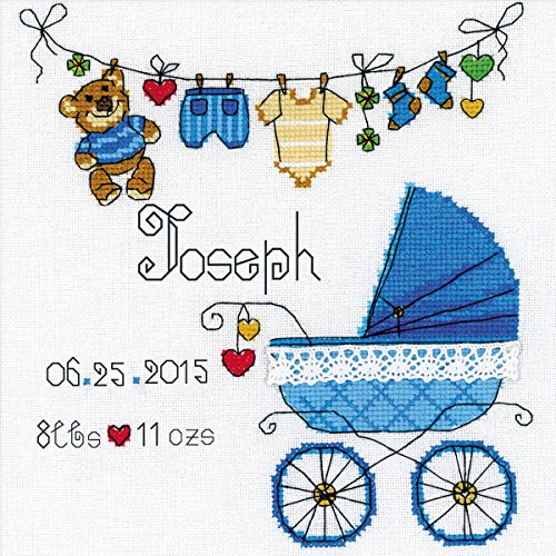 RIOLIS 28 Count It's a Boy! Birth Record Counted Cross Stitch Kit, 8 by 8-Inch (Birth Record Boy)