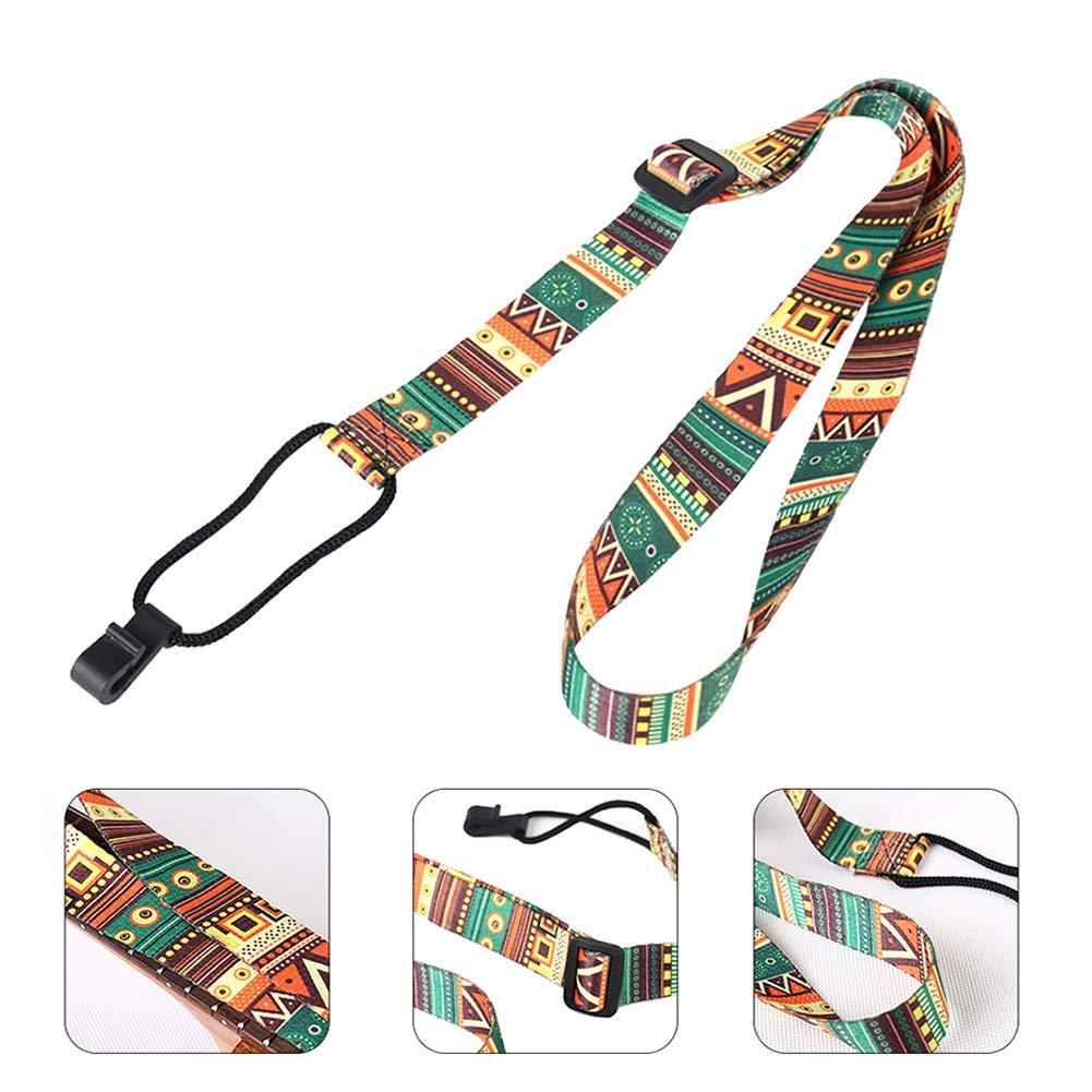 /multicolor Geshiglobal Stampa colorato ukulele cinghia regolabile con gancio chitarra accessori/