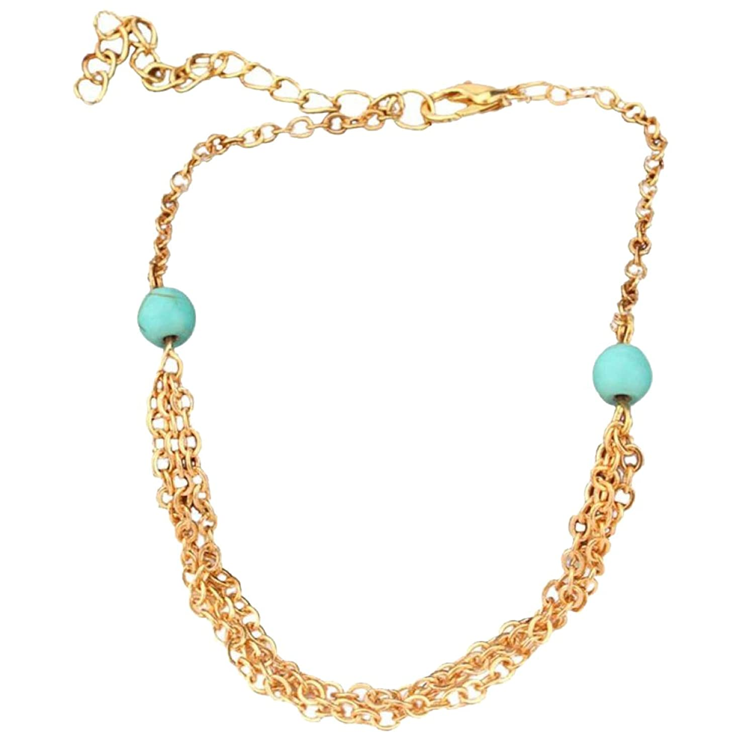 Anklet Chain,Fabal Turquoise Beaded Tassel Multilayer Anklets