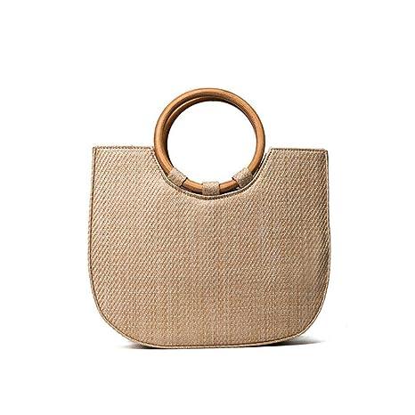 c2b8fe1c85b8 Amazon.com: DOMREO Summer Circle Wooden Handle Knitted Handbag Straw ...