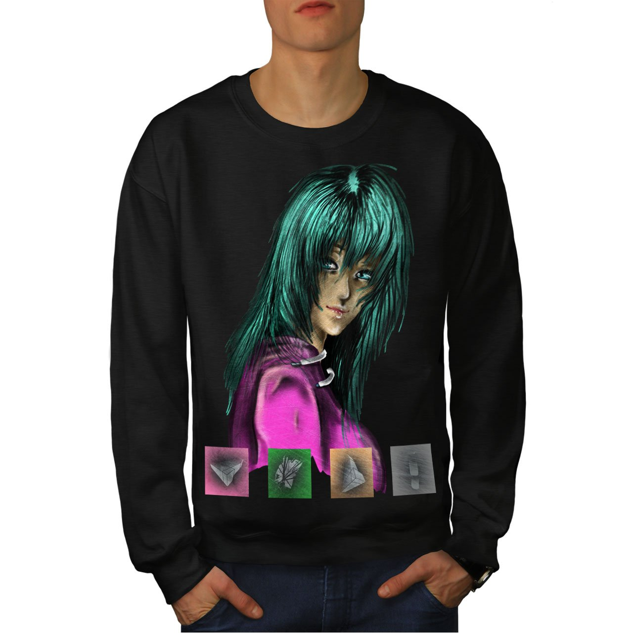 wellcoda Anime Green Funk Mens Sweatshirt Colorful Casual Jumper