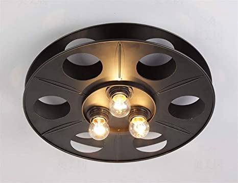 Plafoniere Soffitto Industrial : Hhgold lampada da soffitto vintage wheel light industry old wooden