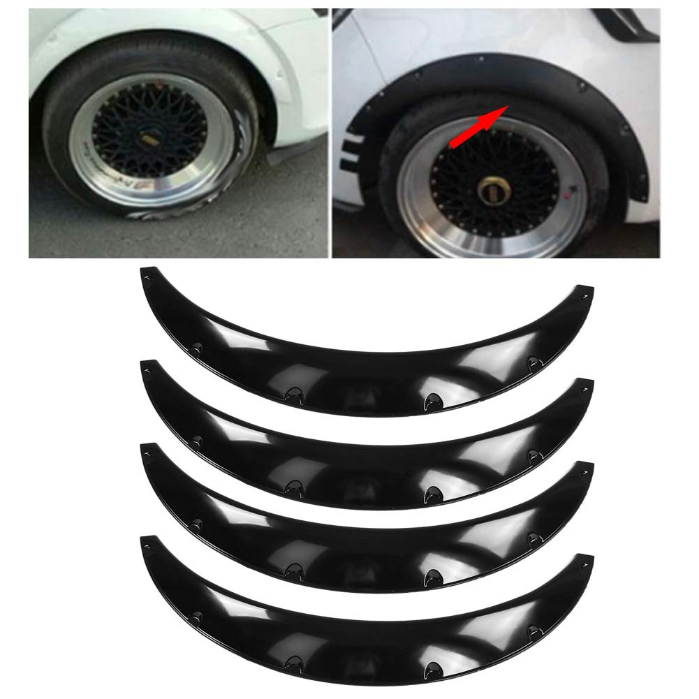 4Pcs 90mm//3.5in Universal Flexible Car Mudguards Front /& Rear Fender Flares Extra Wide Body Wheel Arches Eyebrow Protector